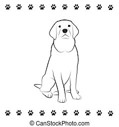 Pooch Drawing - Line drawing of sitting dog.
