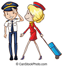 Pilot and flight attendant - illustration of a pilot and a...