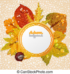 Vector round autumn leaves banner 1