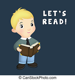 Lets Read - Little boy holding open book