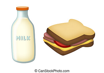 Milk and Sandwich - Milk bottle with ham and cheese...