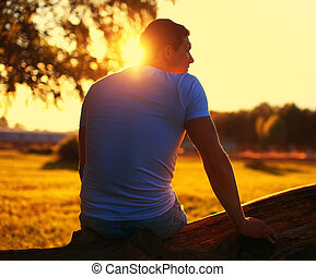 Relax lifestyle photo silhouette lovely man enjoying...