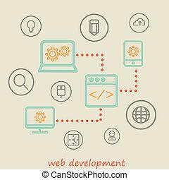 web development - design and development concepts. Elements...