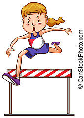 Girl jumping - illustration of a girl jumping over an...