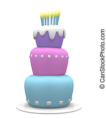 Pastel Cake - 3D pastel colored cake with candles.