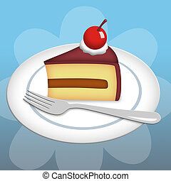 Piece of Cake - Slice of cake on plate with fork
