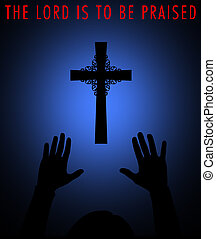 Praising God - Silhouette of a cross with worshipper.