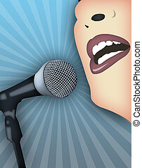 Public Speaking - Woman speaking publicly with microphone.