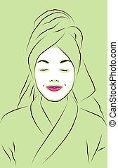 Spa Abstract - Abstract for spa with woman wearing facial...