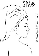 Spa Abstract - Abstract for spa with profile of a woman...