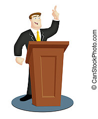 Speaker - Cartoon speaker in business suit with rostrum.