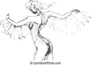 Sketch of flying woman