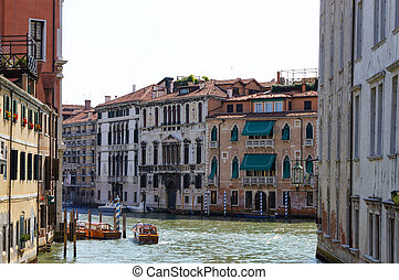Historical facades on the Grand Canal in Venice