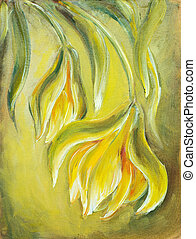 Exotic flowers Oil painting