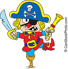 Pirat - Vector illustration of drunken cartoon pirate