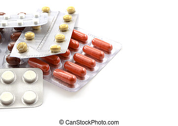 Medicines on white background