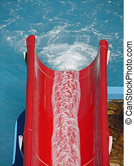red water slide fun