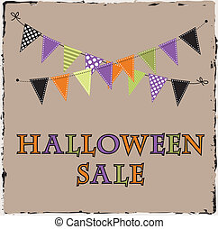 Halloween sale template with bunting or banne