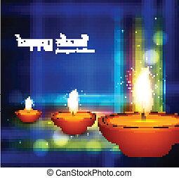 Beautiful shiny diya happy diwali festival greeting card...