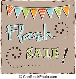 Flash sale template with bunting or banner on brown grunge...