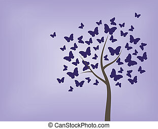 Tree made of butterflies - tree, butterfly, vector,...