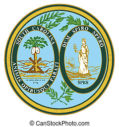 South Carolina State Seal over a white background