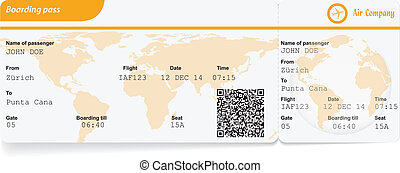 Variant of boarding pass isolated on white. Vector...