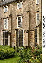 windows on garden at Bishop palace ,Wells - view of facade...