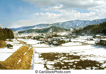 beautiful winter landscape in Japan
