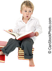 cute and studious toddler reads outloud - Cute and studious...