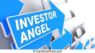 Investor Angel on Blue Direction Arrow Sign. - Investor...