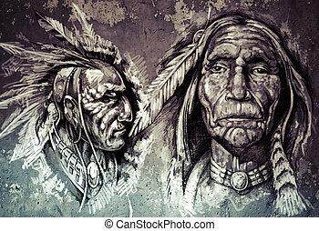 Native american indian head, chiefs, retro style