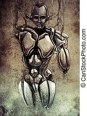 Sketch of tattoo art, android, robot, fantasy illustration