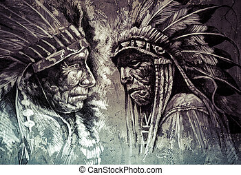 Native american indian head, chief, retro style