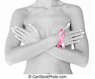 naked woman with breast cancer awareness ribbon - health and...