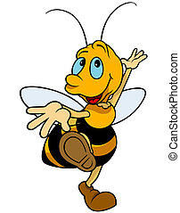 Dancing Bumblebee - Colored Cartoon Illustration, Vector