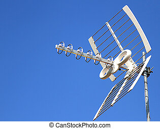 Antenna TV aerial for reception of TV channels and the blue...