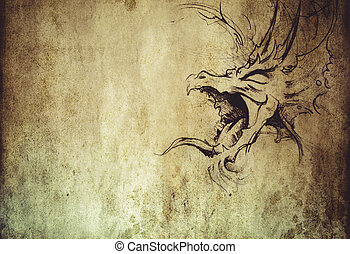 Tattoo art, sketch of a dragon over vintage background -...