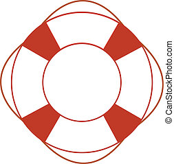 Orange safety ring on white background Sea theme, help,...