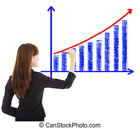 business woman draw a marketing growth chart over white...