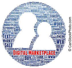 Digital marketplace word cloud shape concept
