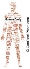 Human body word cloud shape concept