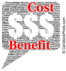 Cost benefit word cloud shape concept