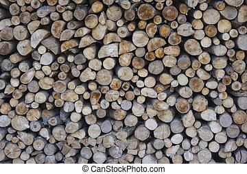 Wood pile in rural house