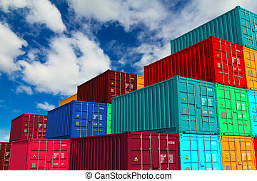 Multitiered of Colorful Containers on Sky Background -...