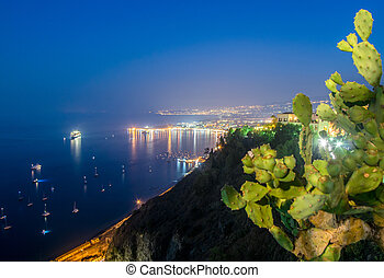 nuit, vue, Taormina