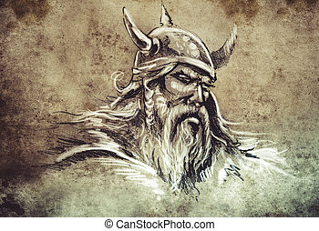 Viking, Tattoo sketch, handmade design over vintage paper -...