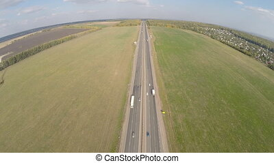 Aerial view Highway road car top
