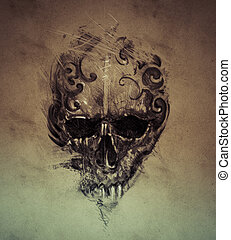 Tattoo skull over vintage paper, design handmade