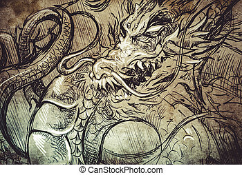 japanese dragon head, Tattoo sketch, handmade design over...